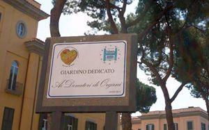 La targa nel giardino dedicato ai donatori di organi (Foto Cristian Gennari).