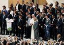 Papa Francesco incontra i giocatori della Partita per la Pace
