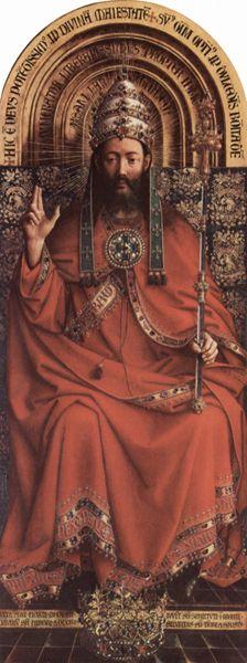 Raffigurazione di Cristo Re nel polittico dell'Agnello Mistico di Jan van Eyck
