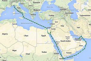 La rotta della Jolly Cobalto partita da Genova il 2 maggio e giunta negli Emirati Arabi il 25 maggio, attraverso Jeddah. La rotta è stata ricostruita tramite MarineTraffic.com.