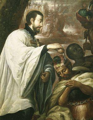 san Francesco Saverio battezza un indigeno.