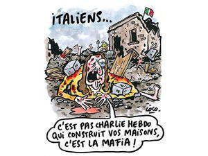 La vignetta pubblicata dalla rivista su Facebook in risposta al moto di indignazione per la satira sui terremotati di Amatrice.