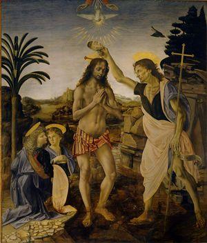 Battesimo di Cristo di Andrea del Verrocchio, Leonardo da Vinci e altri (1475-1478), Galleria degli Uffizi, Firenze