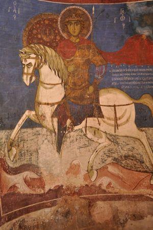 Pittura murale di San Giorgio, nella chiesetta  della Santa Croce a Pelendri, Monti Troodos, Cipro .