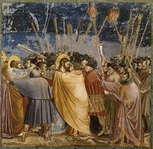 Il bacio di Giuda e la cattura di Gesù, Giotto, Cappella degli Scrovegni, Padova.