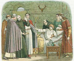 Snt'Anselmo accetta con riluttanza la carica vescovile di Canterbury; illustrazione dell'Ottocento.