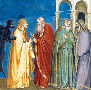 Giuda riceve i trenta denari, Giotto, Cappella degli Scrovegni, Padova.