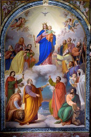aria Ausiliatrice nella pala d'altare commissionata da don Giovanni Bosco a Tommaso Lorenzone