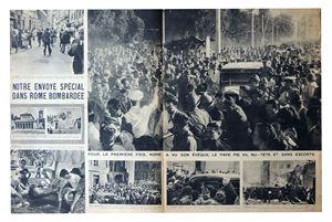 La pagina interna della rivista francese che documenta l'arrivo di Pio XII nel quartiere San Lorenzo dopo i bombardamenti del 19 luglio 1943. Sopra, la copertina con Pio XII in primo piano