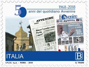 """Il francobollo commemorativo per i 50 anni di """"Avvenire""""."""