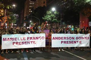 Una delle manifestazioni avvenute in Brasile dopo la morte di Marielle Franco.