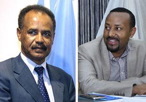 Isaias Afwerki (primo a sinistra), Presidente dell'Eritrea, e Abiy Ahmed, Primo ministro dell'Etiopia,in uno degli incontri preparatori che hanno portato allo storico accordo di pace, svoltosi ad Aba Geda, in Etiopia, il 2 novembre 2017. Foto Ansa. Le altre due immagini riferite all'incontro dei giorni scorsi, sono tratte dal sito di Tesfanews.