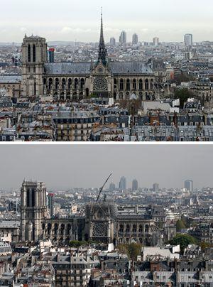 Una veduta di Notre-Dame prima e dopo l'incendio di lunedì scorso