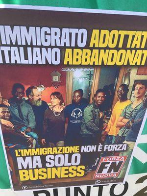 Il manifesto di Forza Nuova attaccato alle mura della scuola del professor Calò, a Treviso.