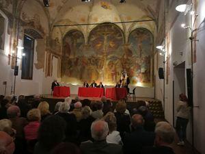 Un'immagine del processo a Ponzio Pilato che si è celebrato lunedì 13 maggio nel Salone degli affreschi della Società Umanitaria di Milano